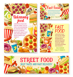 fastfood street food meals or snaks posters vector image