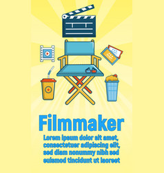 Filmmaker concept banner cartoon style vector