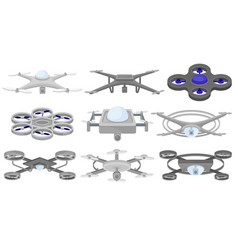 flat set of different quadcopters unmanned vector image