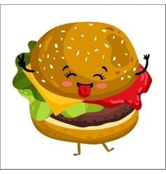 Funny hamburger isolated cartoon character vector image