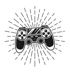 Gamepad with sunburst rays vector