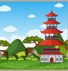 Garden scene with chinese tower in the field vector