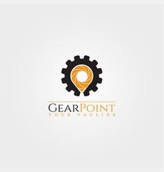 Gear point logo template logo technology vector