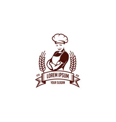 Girl chef emblem vector