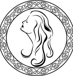 Girls profile in Celtic circle vector