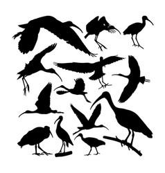 Glossy ibis bird animal silhouettes vector