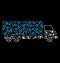 Glossy mesh network wagon with flare spots vector
