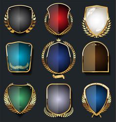 Golden shields and laurel wreath retro design vector