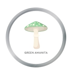 Green amanita icon in cartoon style isolated on vector image