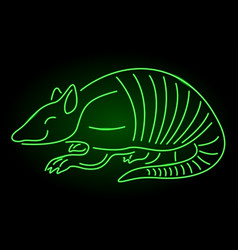 Green neon linear art with armadillo silhouette vector