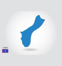 Guam map design with 3d style blue guam map and vector