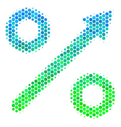 Halftone blue-green growing percent icon vector