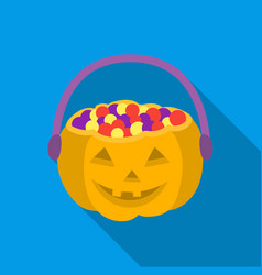 Halloween bucket icon in flate style isolated on vector