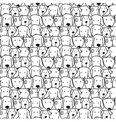 Hand drawn cute dog pattern vector