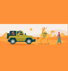 Happy family with kid on egypt dessert excursion vector
