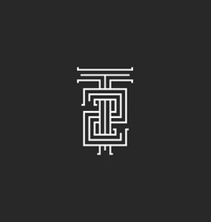Hipster initials t2 logo combination letter t vector