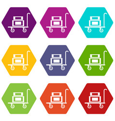 Hotel trolley icons set 9 vector