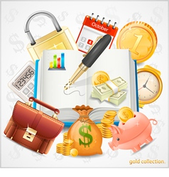 Items of business money gold coins vector image