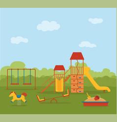 kid s playground colorful cartoon vector image