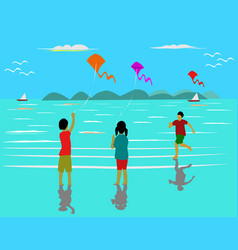 Kids are playing kites on beach vector