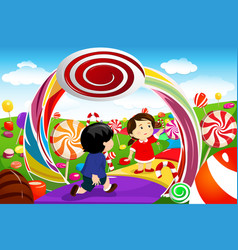 kids playing in a candy land vector image