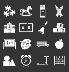 Kindergarten symbol icons set grey vector