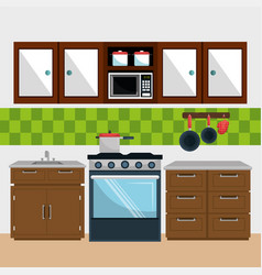 kitchen modern scene icons vector image