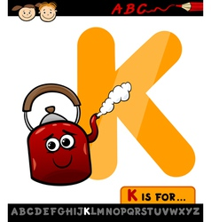 letter k for kettle cartoon vector image