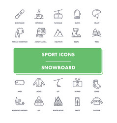 line sport icons set snowboard vector image