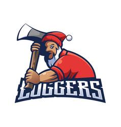 loggers emblem label badge logo vector image
