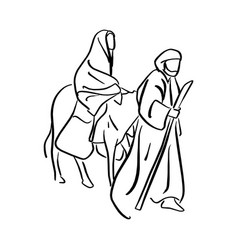 Mary and joseph in the dessert with a donkey on vector