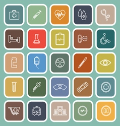 Medical line flat icons on green background vector image
