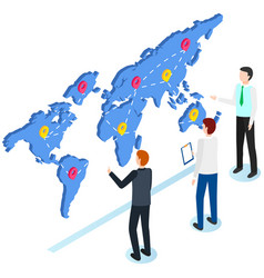 men work with world map for worldwide delivery vector image