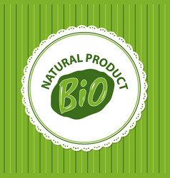 Natural bio product green label isolated striped vector