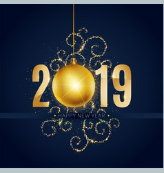 New 2019 year greeting card with christmas ball vector