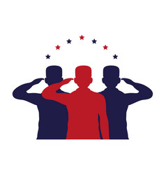 Officers military silhouettes saludating with vector