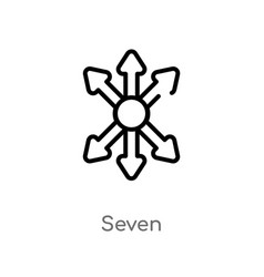 Outline seven icon isolated black simple line vector