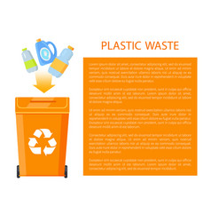 plastic waste poster and info vector image