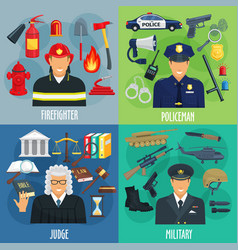 policeman firefighter military judge icon set vector image