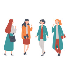 portrait a group four young women standing vector image