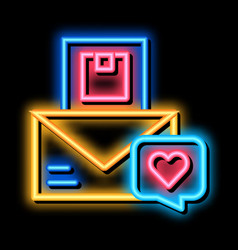 Product order delivery neon glow icon vector