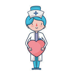 Professional nurse with heart in tha hands vector