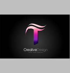 purple violet t letter design brush paint stroke vector image