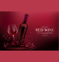 Red wine bottle and glass alcohol vine drink vector