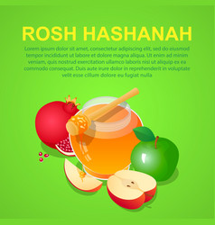 Rosh hashanah concept background isometric style vector