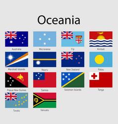 Set flags oceanian countries all oceania flag vector