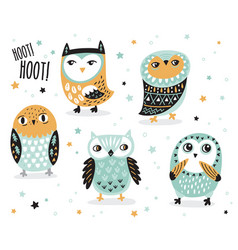 Set of cute cartoon owls with ethnic ornament vector