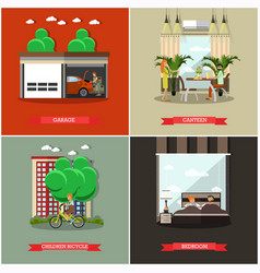 Set of house square posters in flat style vector