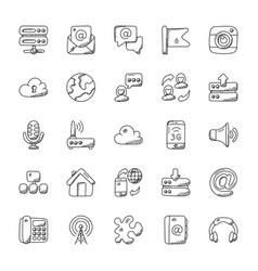 Set of internet doodle vector