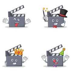 Set of movie clapper character with crazy magician vector